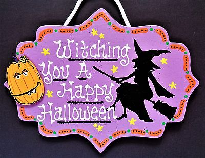 WITCHING YOU A HAPPY HALLOWEEN Sign Pumpkin Wall Hanging Witch Plaque Seasonal