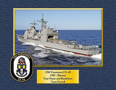 USS VINCENNES CG49 Custom Personalized Print of US Navy Gift Idea for sale  Whitman