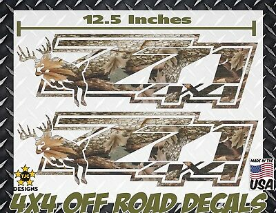 Camo 4 X 4 Decals (Z71  4x4 Offroad Decals REAL TREE CAMOUFLAGE Chevy Silverado CAMO Deer Hunting )