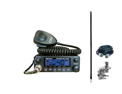 PRESIDENT JOHNNY III Compact CB Radio, 4' 1000 watt Antenna, Coax & Mount Kit