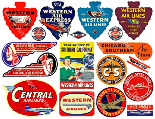 Airplane Luggage Labels, 2 Sticker Sheets, Baggage Labels, Reproduction Stickers