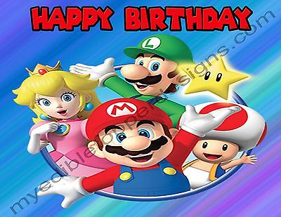 Super Mario Bros. Personalized Edible Print Cake Topper Frosting Sheets 5 Sizes - Super Mario Brothers Cake
