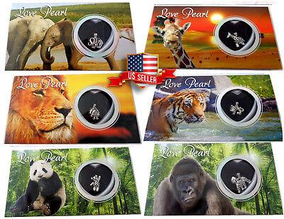 Wild Animals Love Wish Pearl Kit Chain Necklace Kit Pendant Lion Giraffe Monkey