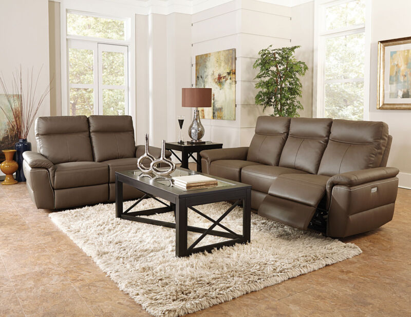 Modern Living Room Couch Set - Power Reclining Brown Leather Sofa Loveseat If55