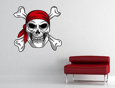 Bandana Dekorationen (Pirate Skull Bandana Wall Decal Motorcycle Biker Vinyl Sticker RV08)