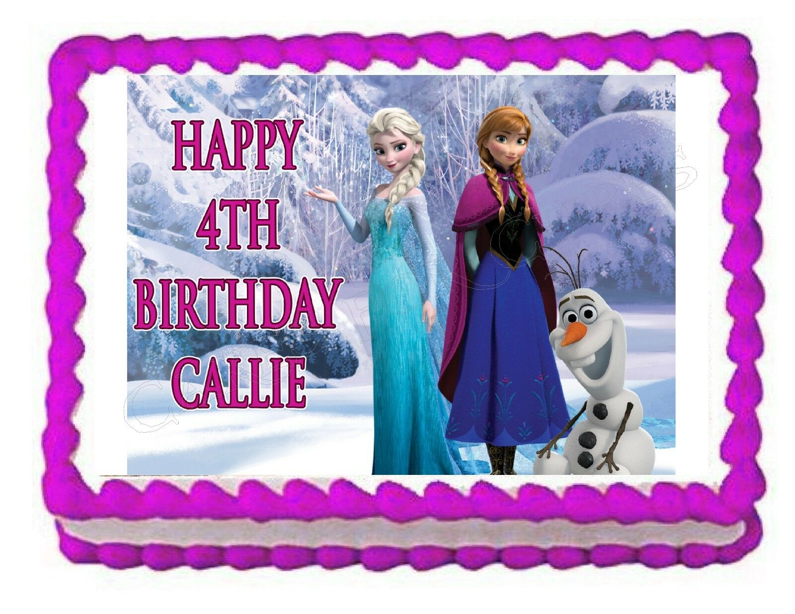 Frozen Elsa Anna And Olaf Edible Party Cake Topper