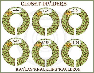 PRE-ASSEMBLED Closet Dividers Lion King Simba green Baby closet Dividers