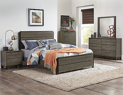 OCTAVIO 5 pieces Modern Design Gray NEW Bedroom Set Furniture - King Panel Bed