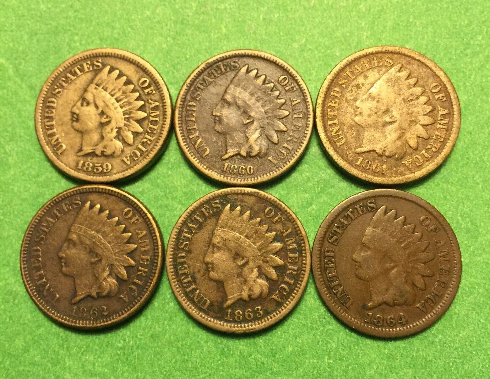 Nice Set Of 6 CN Indian Cents 1859 - 1864 - $9.49