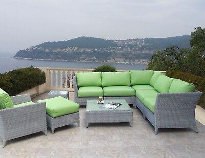 Outdoor Woven Wicker Sectional Modular 9 Piece Set Sunbrella Parrot Cushions ()