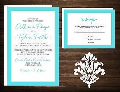 Wedding Invitations Damask Any Colors 50 Invitations & RSVP Cards