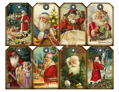 8 Christmas Santa Vintage Antique Hang Tags Scrapbooking Paper Crafts (122)