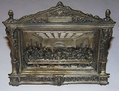 THE LAST SUPPER Brass - Very Detailed - With Original Wall Mount & Stand Beauty