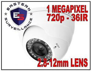 1.0MP 720p 1.0 MP Megapixel IP Dome Security Camera 36IR - 2.8-12mm PoE - IP5