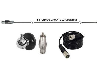 "CRS 102"" CB Radio Antenna Combo Kit, MOUNT, SPRING, 9' COAX USA MADE"