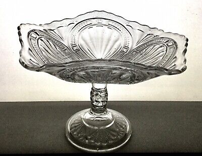 """EAPG Antique Bryce Higbee """"ADMIRAL"""" Open Compote RIBBED ELLIPSE Fluted Rim for sale  Riverside"""