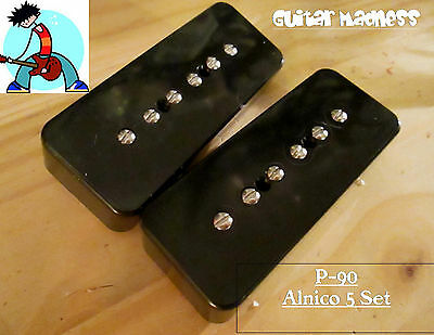 G.M. P-90 soap Bar Pickup Set Black Alnico 5 for Gibson, Epiphone ® for sale  Staten Island