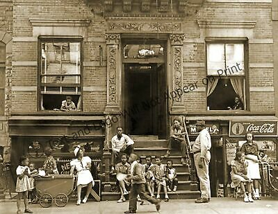 """1935-1939 Harlem Tenement in Summer, NY Vintage Old Photo 8.5"""" x 11"""" Reprint"""