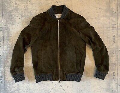 Officine Generale - Lucien Olive Green Suede Bomber Jacket - Size Medium