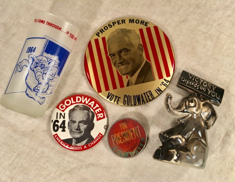 Lot 5 Barry Goldwater 1964 Campaign Pin Button Republican Elephant Political