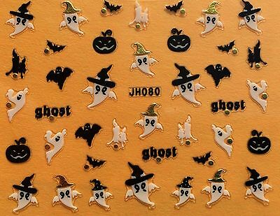 Halloween Bats Nail Art (Nail Art 3D Decal Stickers Halloween Ghost Pumpkin Bat)