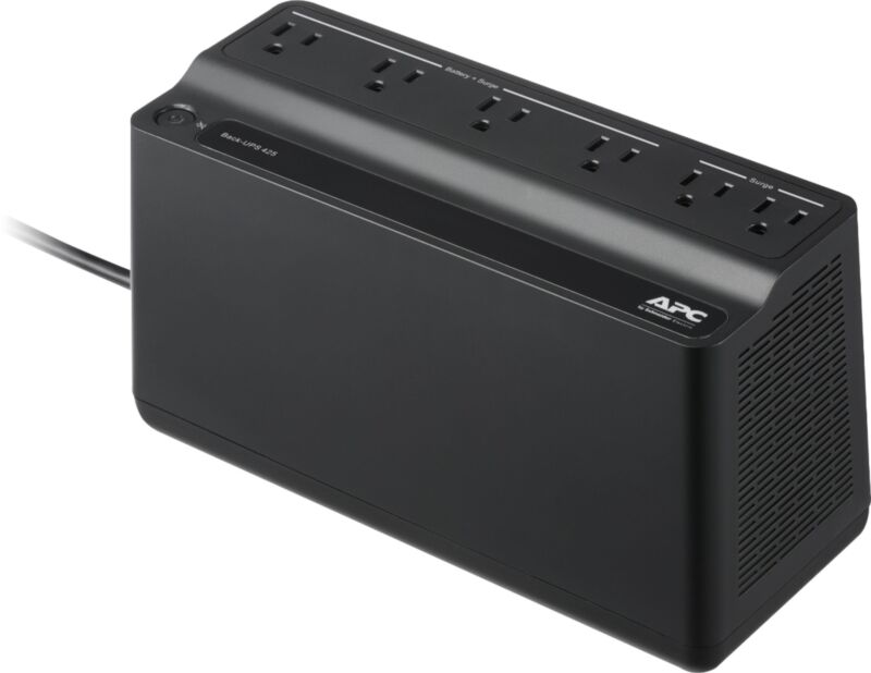 APC - Back-UPS 425VA 6-Outlet Battery Back-Up and Surge Protector - Black
