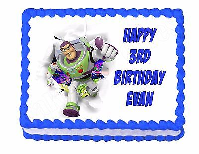 Buzz Lightyear Toy Story edible cake image frosting sheet party decoration for sale  Shipping to India