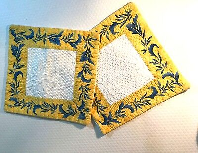 """Provencal Nation French Blue /Yellow square Place Mats 13"""" x 13"""""""
