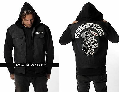 Sons Of Anarchy Black Denim Highway Reaper Patch Lined Jacket S 4Xl Msoa6bd