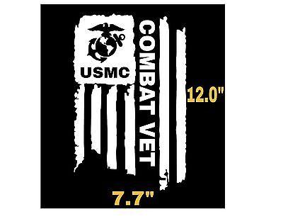(DISTRESSED USMC UNITED STATES MARINE CORPS FLAG COMBAT VET DECAL STICKER 7.7x12 )