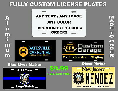 Personalized Aluminum Custom License Plate Customize with Text and or Picture  Custom Aluminum License Plate