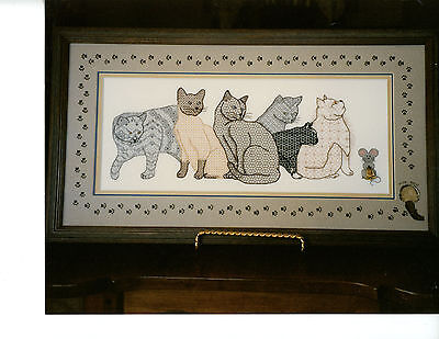Blackwork Design - Needlepoint Blackwork CATS Design: CHORUS LINE All Levels by DAKOTA ROGERS