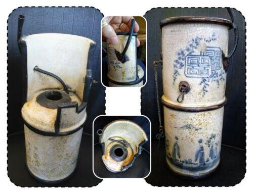 Antique Japanese Satsuma Pottery Oil Lantern Lamp, Signed, Meiji, 19th Century