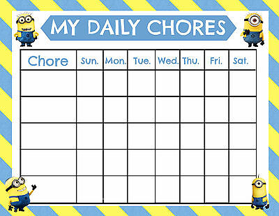 Smiley Face Charts - A5 Print - Children's Minion Chores Reward Chart includes Smiley Face Stickers