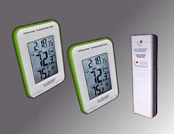 Green Trim Dual Display Wireless Indoor/Outdoor Thermometer Min/Max & Trend NEW