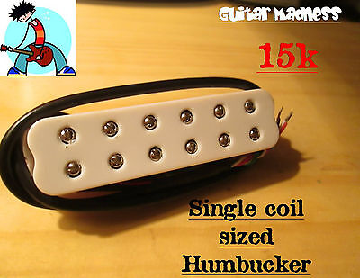 G.M. StratBucker Single Coil sized Humbucker 12 adjustable pole peices 15K White