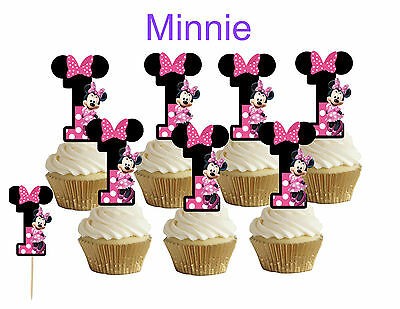 1st birthday Minnie Mouse Cupcake toppers,cakepop toppers,cupcake - Minnie Mouse 1st Birthday Cupcake Toppers