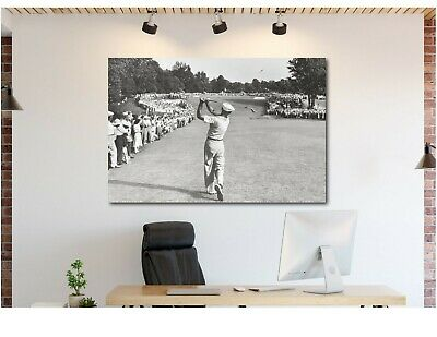 Ben Hogan Famous Golf Shot Icon Canvas Wall Art Print - Various Sizes
