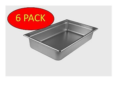 6 Pack Starkcook Steam Table Pan Stainless Steel Full Size Stpf224