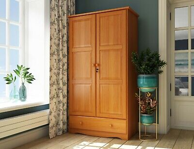 100% Solid Wood Universal Wardrobe/Armoire/Closet by Palace Imports, 3 Colors Bedroom Solid Pine Armoire