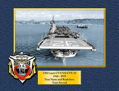 USS Leyte CV 32 Personalized Canvas Ship Photo Print Navy Veteran Gift