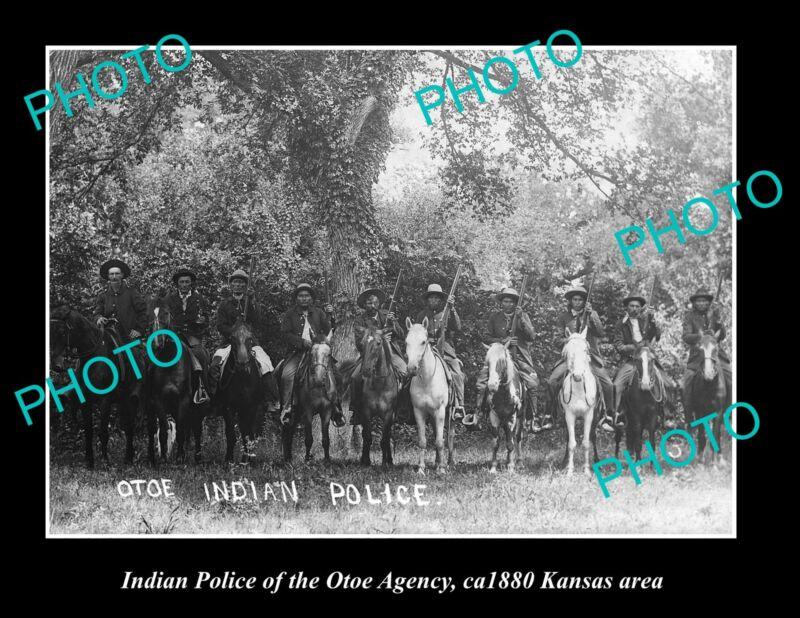 OLD LARGE HISTORIC PHOTO OF INDIAN POLUCE OF THE OTEO AGENCY, KANSAS AREA c1880