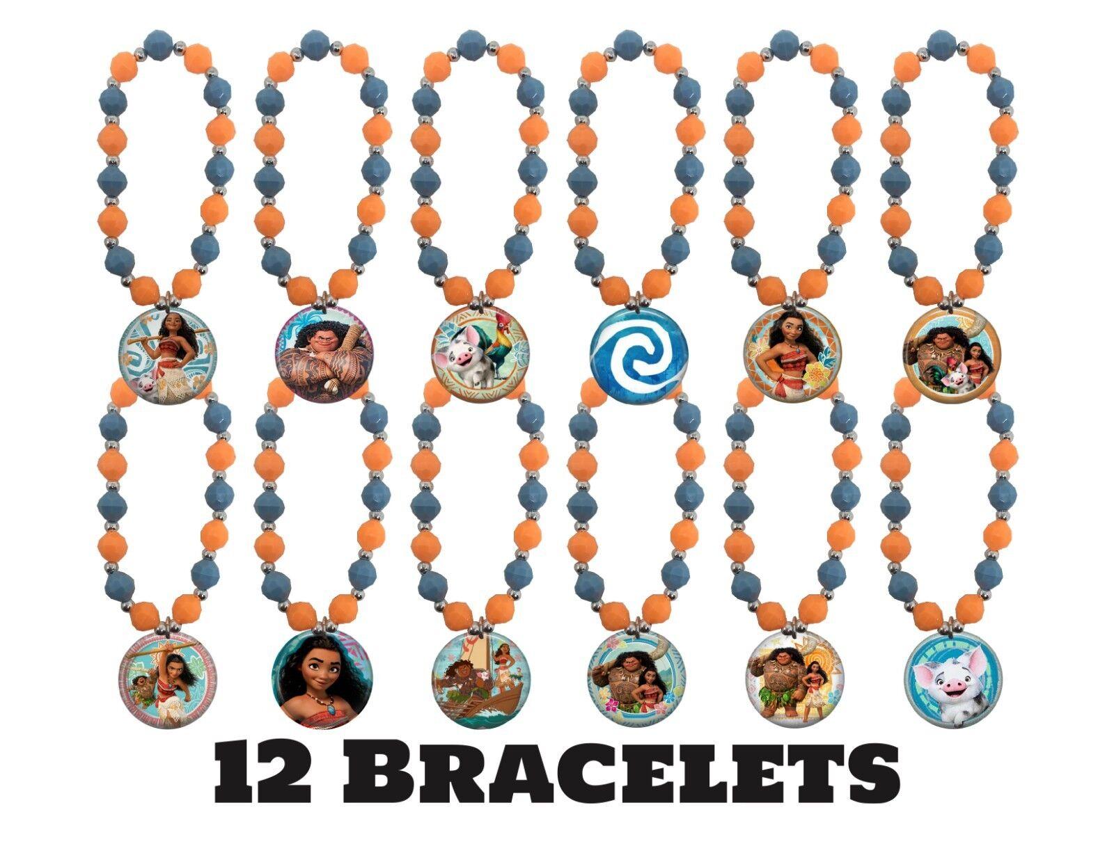 12x Moana Theme Te Fiti  Beaded Stretch Bracelets Birthday P