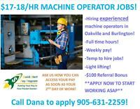 FULL TIME MACHINE OPERATOR JOBS IN BURLINGTON & OAKVILLE!