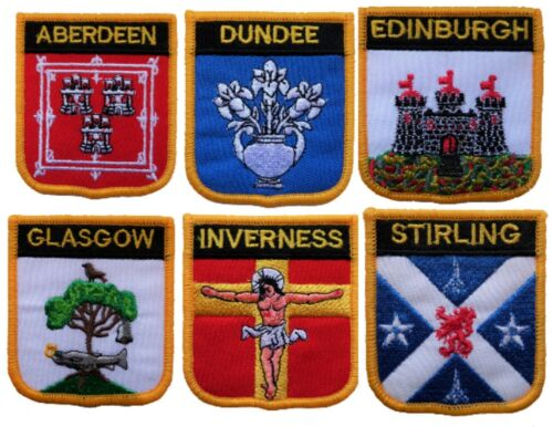 Scotland Town & City Shield Embroidered Patches - 7 To Choose From