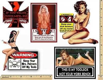 Funny Warning Stickers - Complete set of 5 Decals - Sexy Girl Tool Box MADE USA