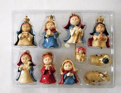 Holiday Time Child Nativity Set 10 Piece Christmas Holiday Tree Ornaments  - Child Nativity Set