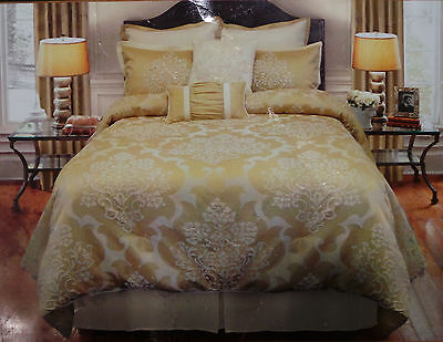 Veratex 4 Piece Set Queen Madiera Wheat Comforter Shams Bed Skirt Tan Gold