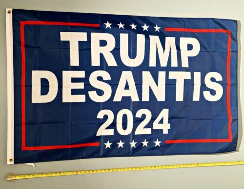Donald Trump FLAG FREE SHIP USA SELLER! Ron Desantis Blue 2024 USA Sign 3x5
