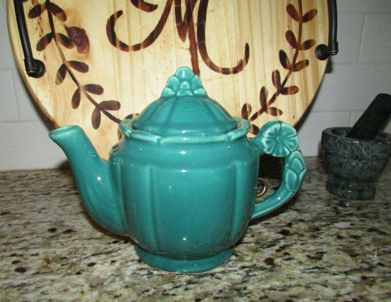 Vintage Shawnee Teal Green Rosette Teapot